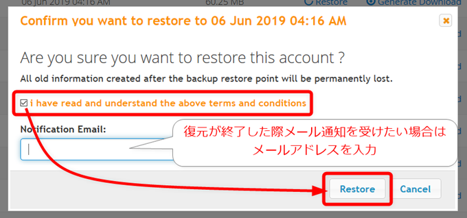 Confirm you want to restore