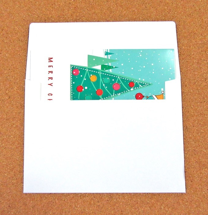 グリーティングカードタイプギフト券には真っ白な封筒がついてくる