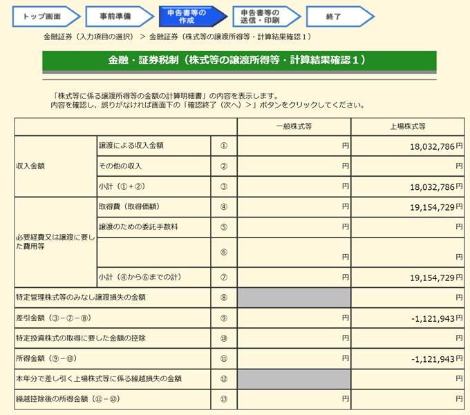 金融・証券税制(株式等の譲渡所得等・計算結果確認1)