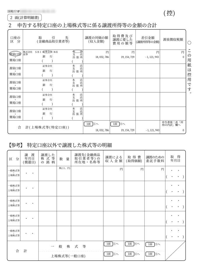 申告する特定口座の上場株式等に係わる譲渡所得等の金額の合計(控え)