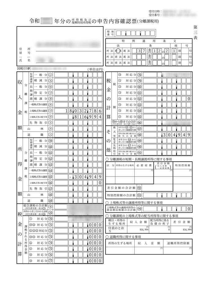 分離課税用確定申告表]