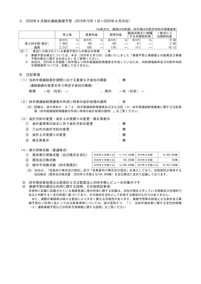 2020年9月期第2四半期決算短信〔日本基準〕(連結)2