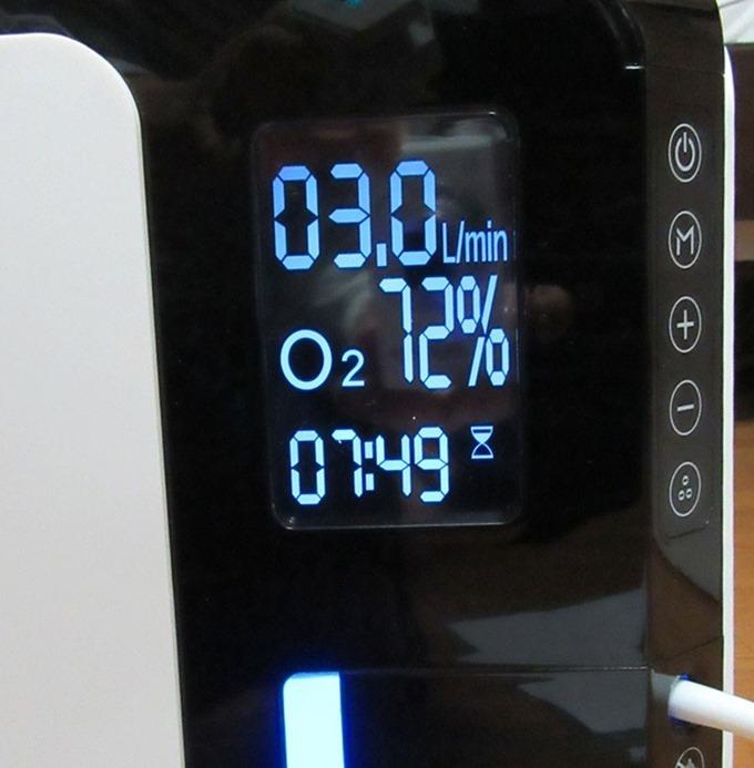 操作パネル(72%の酸素濃度で毎分3リットル)