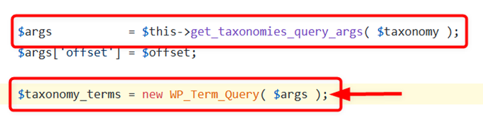 new WP_Term_Query