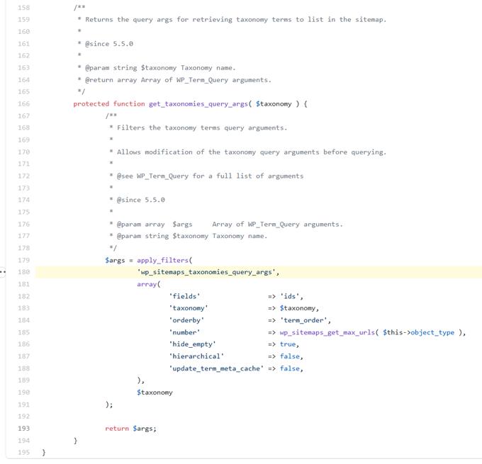 wp_sitemaps_taxonomies_query_args
