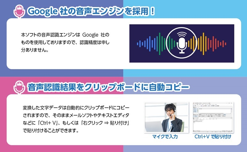 Google社の音声認識エンジンを採用